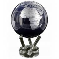 "6"" Metallic Silver & Black World Globe"