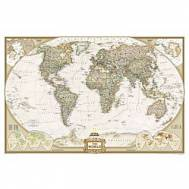 National Geographic World Map Antique Eurocentric Large